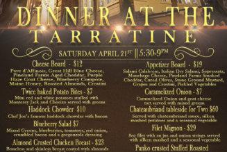 Dinner at the Tarratine, Saturday April, 21st 2018